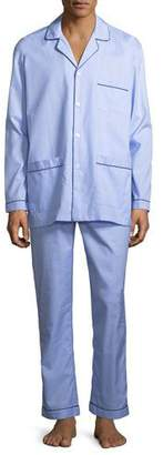 Neiman Marcus Woven Pajama Set with Piping