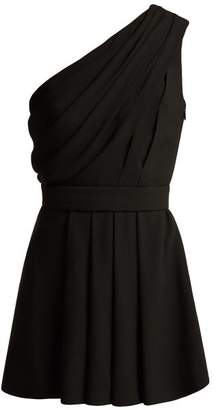 Saint Laurent One Shoulder Draped Crepe Mini Dress - Womens - Black
