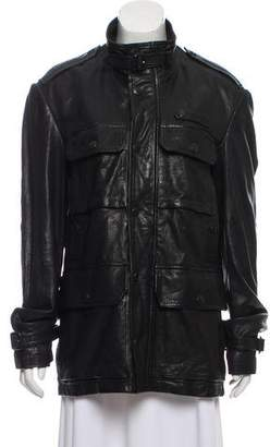 Burberry Mock Collar Leather Jacket