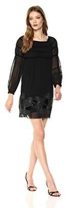 Max Studio Women's Balloon Sleeve Velvet Embroidered Dress