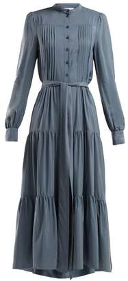 See by Chloé Pleated Tie Waist Crepe Dress - Womens - Blue