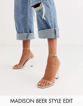 Barely There Asos Design ASOS DESIGN Hark clear block heeled sandals