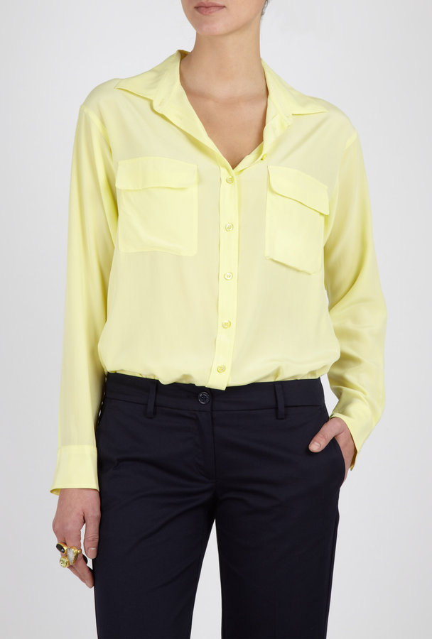 Equipment Lime Sherbet Signature Silk Blouse