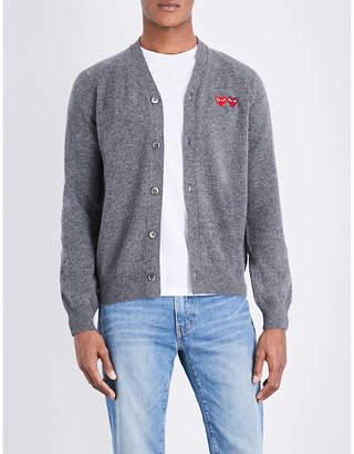 Comme des Garcons Heart-appliquéd wool cardigan