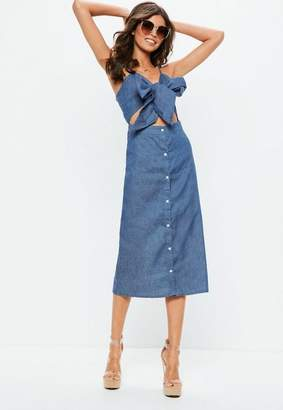 Missguided Blue Tie Front Button Down Midi Dress
