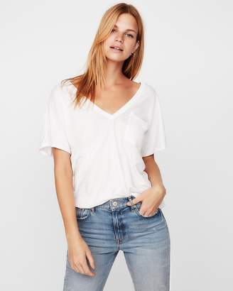Express Petite One Eleven Double V Relaxed London Tee
