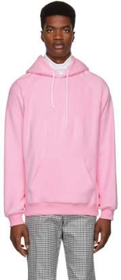 MSGM Pink Logo Backward Hoodie