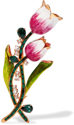 Dolce & Gabbana - Gold-plated, Swarovski Crystal And Enamel Brooch - one size $995 thestylecure.com