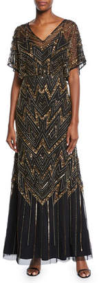 Aidan Mattox V-Neck Short-Sleeve Beaded Blouson A-Line Gown w/ Keyhole Back