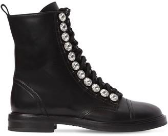 Casadei 20mm Embellished Leather Biker Boots