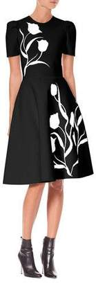 Carolina Herrera Short-Sleeve Tulip-Jacquard Fit-and-Flare Dress