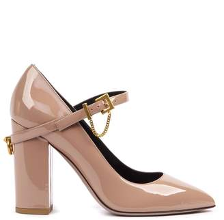 Valentino Buckle Strap Block Heel Pumps