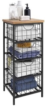 Linon Metal and Wood Drawer Unit, 33 inches Tall, Assembled