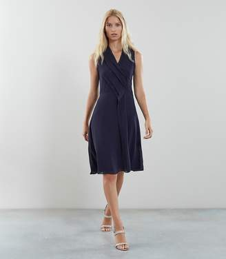 Reiss ALANA PLEAT FRONT V NECK DRESS Navy