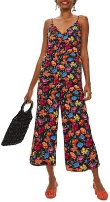Topshop Sleeveless Floral Print Jumpsuit