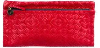 Clare Vivier Woven Leather Fold-Over Clutch