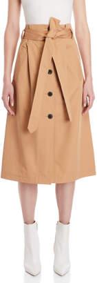 Frenken Camel Belted Midi Skirt