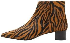 MANGO Animal print leather ankle boots