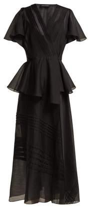 Anna October - Pleated Organza Wrap Midi Dress - Womens - Black
