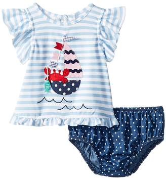 Mud Pie Sailboat Pinafore and Bloomer Two-Piece Set Girl's Suits Sets