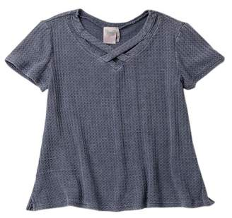 FOR ALL SEASONS Washed Waffle Knit Cross Front Top (Big Girls)