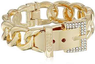 GUESS Basic and Crystal Frozen Link Buckle Cuff Bracelet