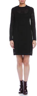 M Missoni (エム ミッソーニ) - M Missoni 透かしパターン クルーネック 長袖ドレス ブラック 38