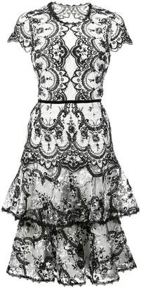 Marchesa embroidered lace midi dress