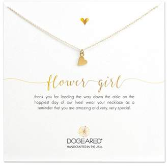 Dogeared Women's 14ct Gold Plated Sterling Silver Flower Girl Sideways Heart Necklace of 40.64cm
