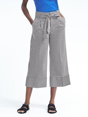 Stripe Belted Wide-Leg Crop $98 thestylecure.com