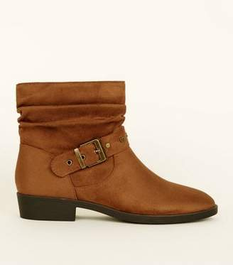 d5978b73035 New Look Tan Suedette Buckle Strap Slouch Boots