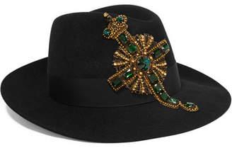 Dolce & Gabbana Embellished Grosgrain-trimmed Rabbit-felt Fedora - Black