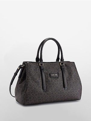 Calvin Klein Calvin Klein Womens Jordan Monogram Triple Compartment Satchel Coffee Bean