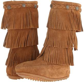 Minnetonka Kids 3-Layer Fringe Boot Girls Shoes