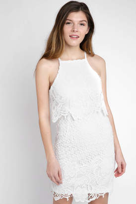 BB Dakota Allover Border lace With Tiered Bodice Dress