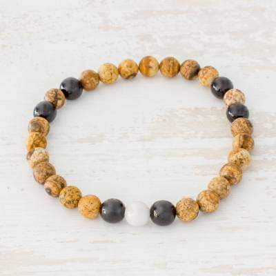 Earthy Combination Natural Jasper and Jade Stretch Bracelet from Guatemala