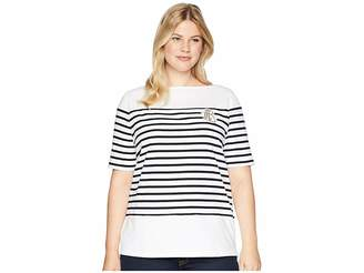Lauren Ralph Lauren Plus Size Striped Bullion Jersey Top