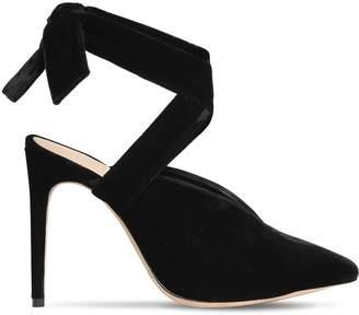 Alexandre Birman 100mm Sally Velvet Lace-Up Sandals