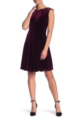 Gabby Skye Velvet Fit & Flare Sleeveless Dress