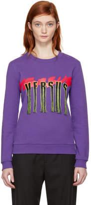 Versus Purple Fringed Logo Sweatshirt
