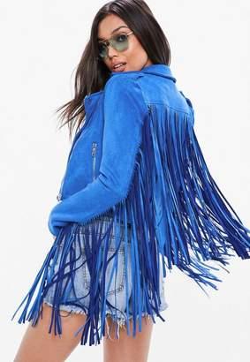 Missguided Blue Faux Fringe Biker Jacket