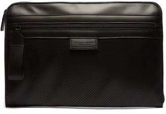 Perforated Leather Document Holder - Mens - Black