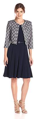 Jessica Howard Women's 3/4 Sleeve Trapunto Jacket Dress