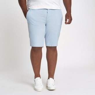 River Island Mens Big and Tall blue slim fit Oxford shorts