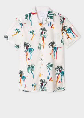 Paul Smith Men's Classic-Fit White Large 'Palm Tree' Print Short-Sleeve Shirt