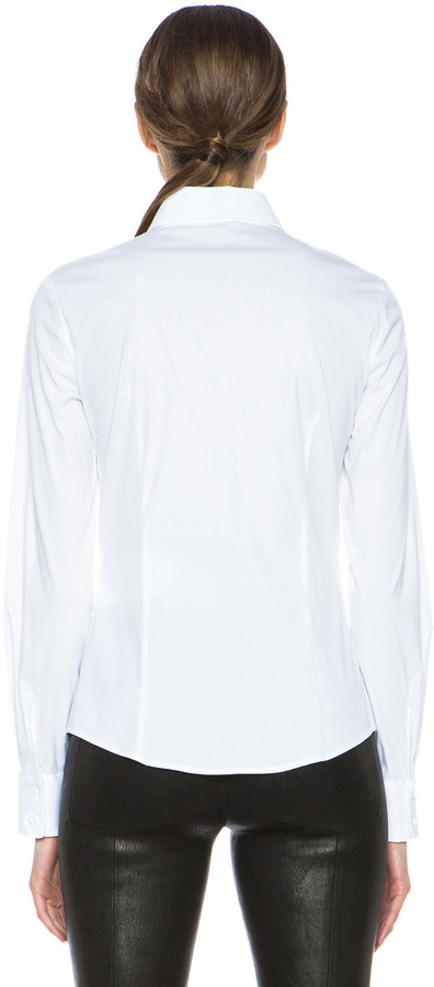 RED Valentino Stretch Poplin Button Down in White