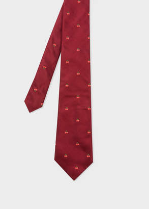 Paul Smith Men's Burgundy Embroidered Cherries Motif Silk Tie