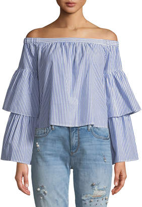 BCBGMAXAZRIA Callison Off-the-Shoulder Striped Top