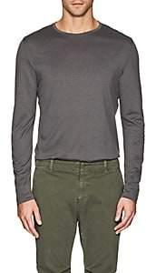 Loro Piana Men's Silk-Cotton Long-Sleeve T-Shirt-Medium Gray