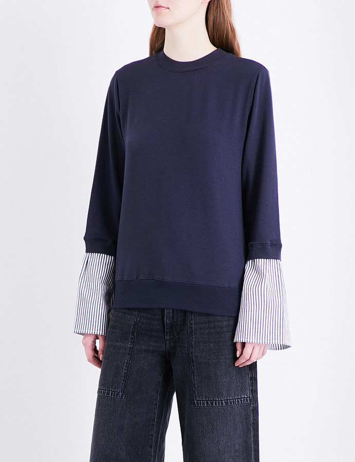 Clu Clu Lace panel stretch-jersey sweatshirt